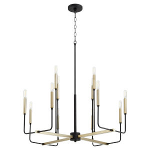 Lacy Noir and Aged Brass 12-Light Chandelier
