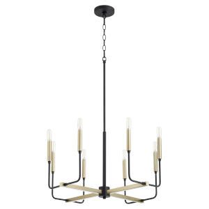 Lacy Noir and Aged Brass Eight-Light Chandelier