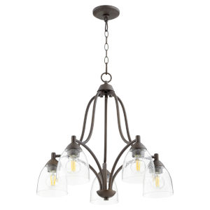 Barkley Oiled Bronze with Clear 24-Inch Five-Light Nook Pendant