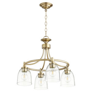 Rossington Aged Brass with Clear 21-Inch Four-Light Nook Pendant