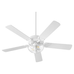 Virtue Studio White Two-Light 52-Inch Ceiling Fan with Clear Seeded Glass Bowl