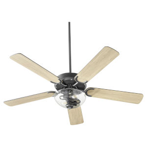 Virtue Matte Black Two-Light 52-Inch Ceiling Fan with Clear Seeded Glass Bowl