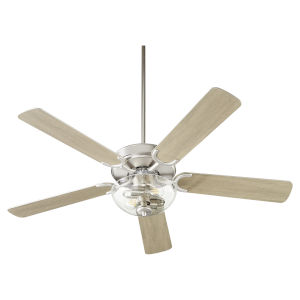 Virtue Satin Nickel Two-Light 52-Inch Ceiling Fan with Clear Seeded Glass Bowl