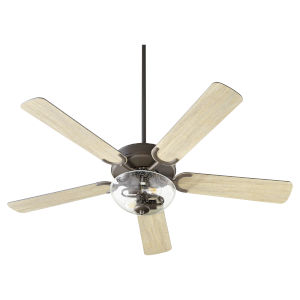 Virtue Oil Bronze Two-Light 52-Inch Ceiling Fan with Clear Seeded Glass Bowl