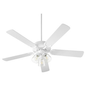 Virtue Studio White Three-Light 52-Inch Ceiling Fan with Clear Seeded Glass