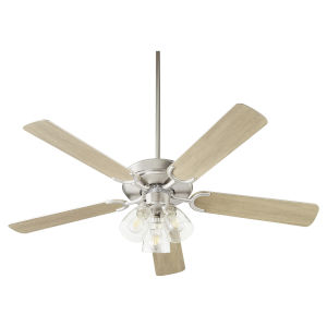 Virtue Satin Nickel Three-Light 52-Inch Ceiling Fan with Clear Seeded Glass