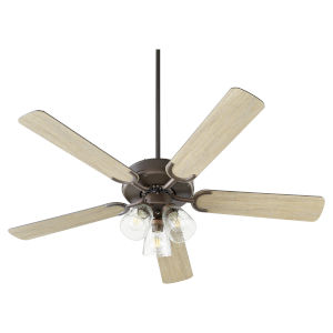 Virtue Oil Bronze Three-Light 52-Inch Ceiling Fan with Clear Seeded Glass