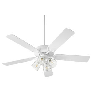 Virtue Studio White Four-Light 52-Inch Ceiling Fan with Clear Seeded Glass