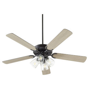 Virtue Matte Black Four-Light 52-Inch Ceiling Fan with Clear Seeded Glass