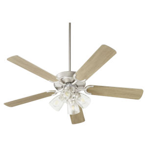 Virtue Satin Nickel Four-Light 52-Inch Ceiling Fan with Clear Seeded Glass