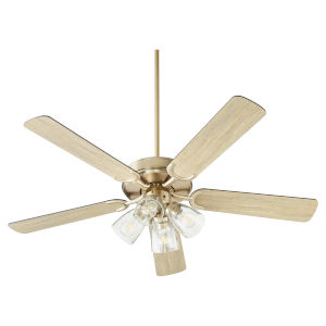 Virtue Aged Brass Four-Light 52-Inch Ceiling Fan with Clear Seeded Glass