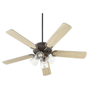 Virtue Oil Bronze Four-Light 52-Inch Ceiling Fan with Clear Seeded Glass