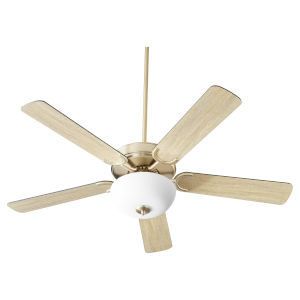 Virtue Aged Brass Two-Light 52-Inch Ceiling Fan with Satin Opal Glass Bowl
