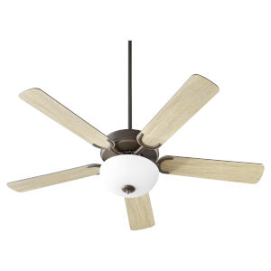 Virtue Oil Bronze Two-Light 52-Inch Ceiling Fan with Satin Opal Glass Bowl