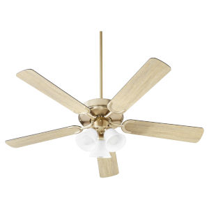 Virtue Aged Brass Three-Light 52-Inch Ceiling Fan with Satin Opal Glass