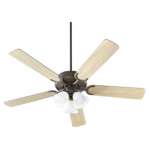Virtue Oil Bronze Three-Light 52-Inch Ceiling Fan with Satin Opal Glass