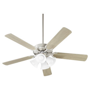 Virtue Satin Nickel Four-Light 52-Inch Ceiling Fan with Satin Opal Glass