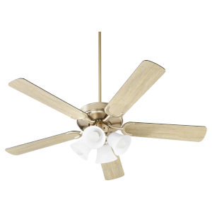 Virtue Aged Brass Four-Light 52-Inch Ceiling Fan with Satin Opal Glass