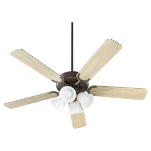 Virtue Oil Bronze Four-Light 52-Inch Ceiling Fan with Satin Opal Glass