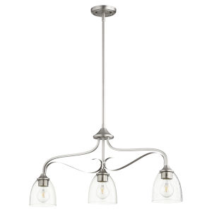 Jardin Satin Nickel with Clear Six-Inch Three-Light Mini Pendant