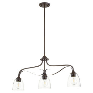 Jardin Oiled Bronze with Clear Six-Inch Three-Light Mini Pendant