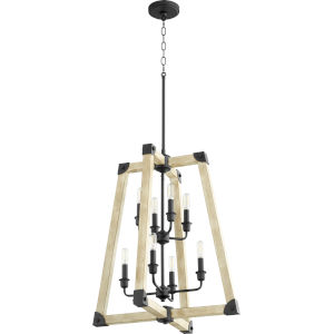 Alpine Black With Driftwood Finish 52-Inch Eight-Light Pendant