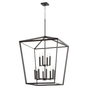 Manor Oiled Bronze 29-Inch 12-Light Entry Pendant