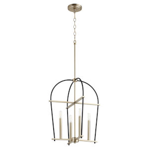 Espy Noir and Aged Brass Four-Light 17-Inch Pendant