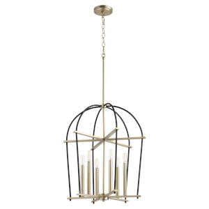Espy Noir and Aged Brass Six-Light Pendant