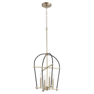 Espy Noir and Aged Brass Four-Light 14-Inch Pendant
