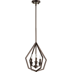 Knox Oiled Bronze Three-Light Pendant