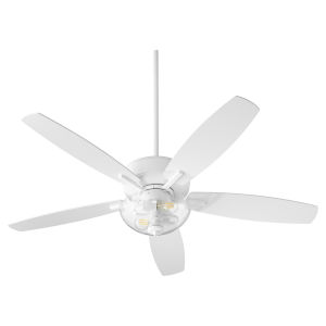 Breeze Studio White Two-Light 52-Inch Ceiling Fan with Clear Seeded Glass Bowl