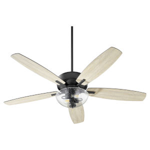 Breeze Noir Two-Light 52-Inch Ceiling Fan with Clear Seeded Glass Bowl