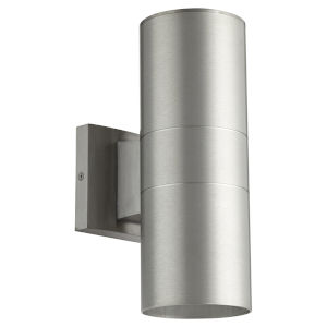 Cylinder Brushed Aluminum Two-Light 4-Inch Outdoor Wall Mount
