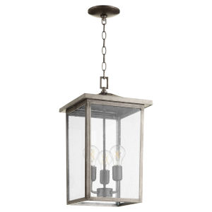 Riverside Weathered Zinc Three-Light Outdoor Pendant