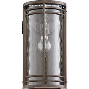 Larson Oiled Bronze and Clear Hammered Glass One-Light Outdoor Wall Sconce