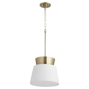 Studio White and Aged Brass 12-Inch One-Light Pendant