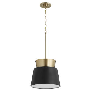 Noir and Aged Brass 12-Inch One-Light Pendant