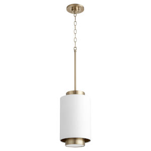 Studio White and Aged Brass One-Light 14-Inch Mini Pendant
