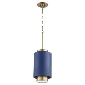 Aged Brass Blue Eight-Inch One-Light Mini Pendant