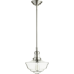 Satin Nickel and Clear One-Light Pendant