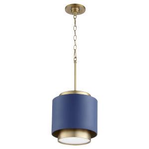 Aged Brass Blue 11-Inch One-Light Pendant