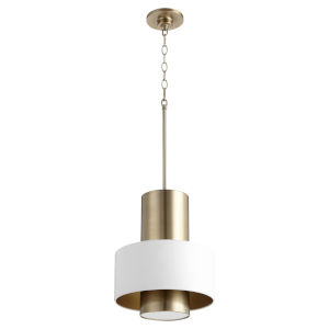 Studio White and Aged Brass One-Light Pendant