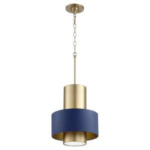 Aged Brass Blue 12-Inch One-Light Pendant