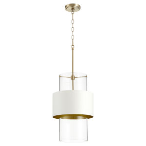 Aged Brass and Studio White One-Light 12-Inch Pendant