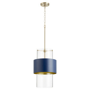 Aged Brass and Blue One-Light 12-Inch Pendant