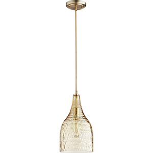 Aged Brass Eight-Inch One-Light Mini Pendant