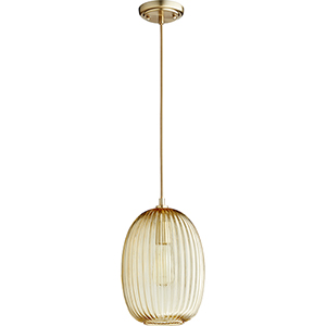Aged Brass Nine-Inch One-Light Mini Pendant