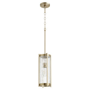 Aged Brass and Clear Chisseled Glass One-Light 16-Inch Mini Pendant