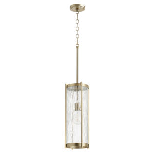 Aged Brass and Clear Chisseled Glass One-Light 7-Inch Mini Pendant